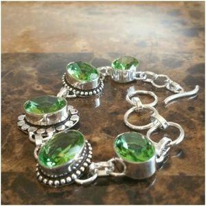 """Jewelry - Sterling Silver Peridot Bracelet 7"""" long"""